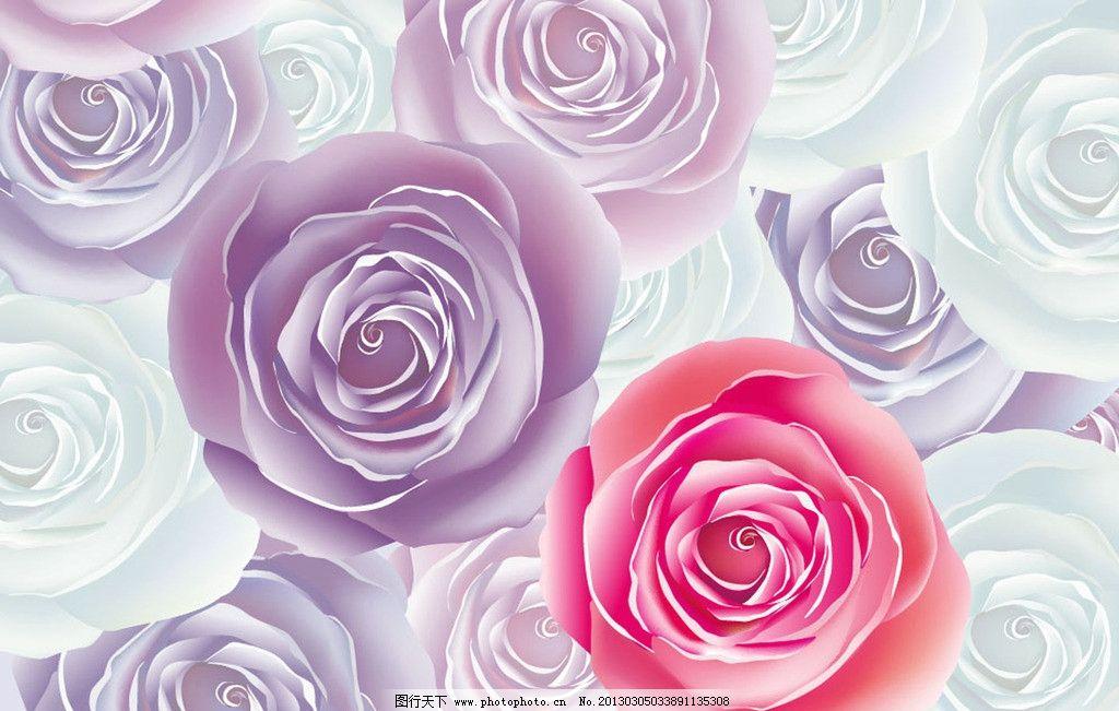 手绘玫瑰背景素材图片