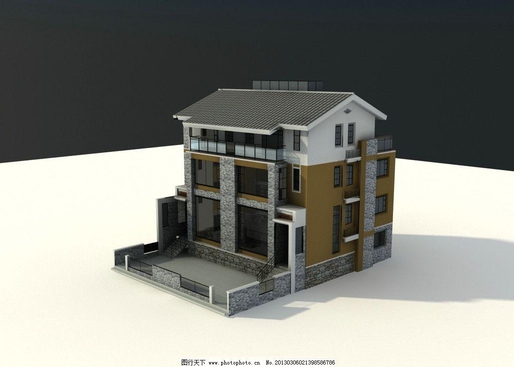 中式别墅 中式建筑 中式模型 室外建筑 室外模型 3d设计模型 max文件图片