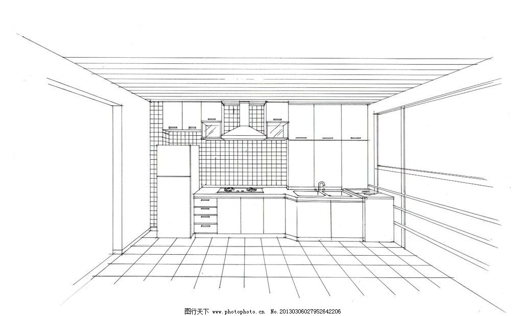 室内设计效果图 手绘效果图 厨房设计 厨房柜子设计