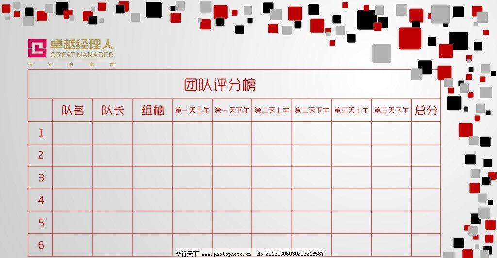 评分版 展板 表格 红色 黑色 展板模板 广告设计 矢量 cdr