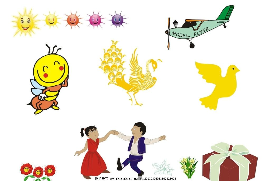手绘插画 矢量素材 人物 卡通 卡通形象 卡动物 太阳 飞机 礼包