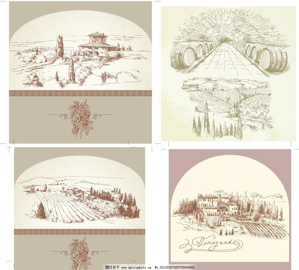 手绘村庄卡片图片