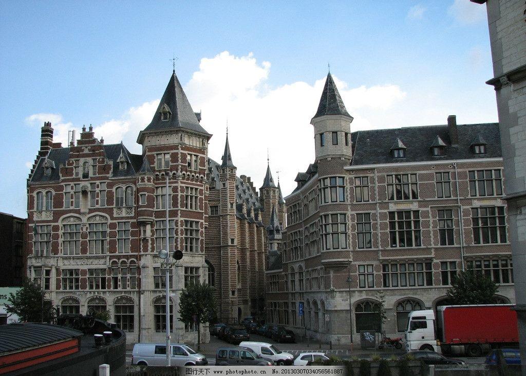 欧洲风情 房屋 哥特式 建筑 双子建筑 国外旅游 摄影图片