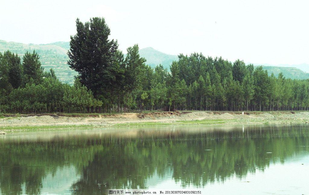 树林倒影 树林 倒影 河边 自然风景 自然景观 摄影 200dpi jpg