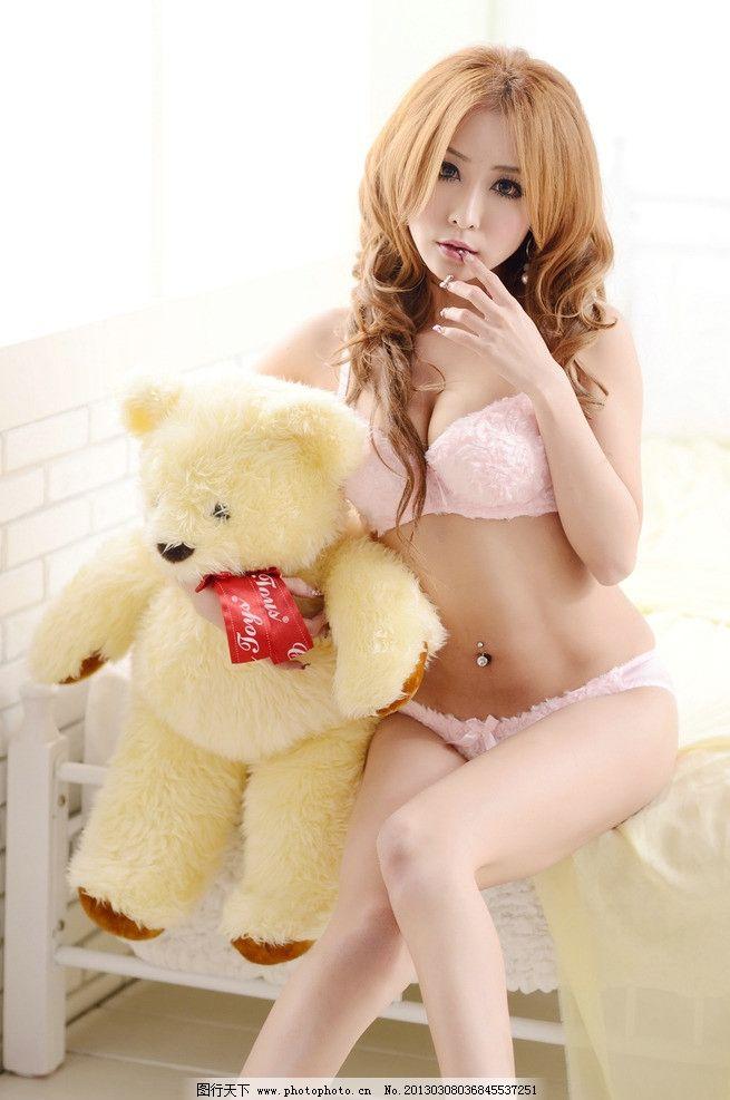 清纯 性感 卡通熊 布娃娃 比基尼 内衣 写真 实拍 美腿 人物图库 人像