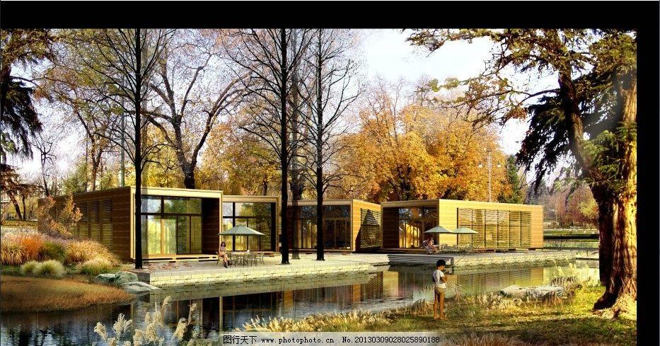 室外平层别墅效果图 室外 秋景 别墅        3d 建筑设计 环境设计 源
