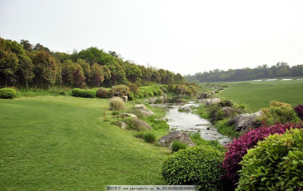 小溪 景观石 灌木丛 草坪 园林建筑 建筑园林 摄影