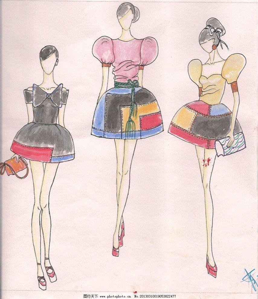 服装设计图 女式服装 裙子 休闲服装设计 服装设计图案 绘画书法 文化