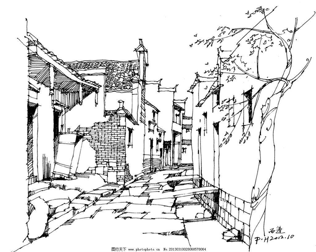 徽派建筑钢笔速写 西递宏村钢笔速写 建筑设计 环境设计 设计 80dpi