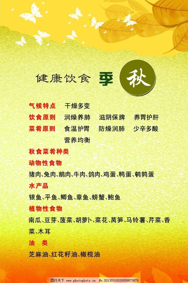 秋季海报 饮食 健康饮食 秋季小贴士 海报设计 广告设计模板 源文件