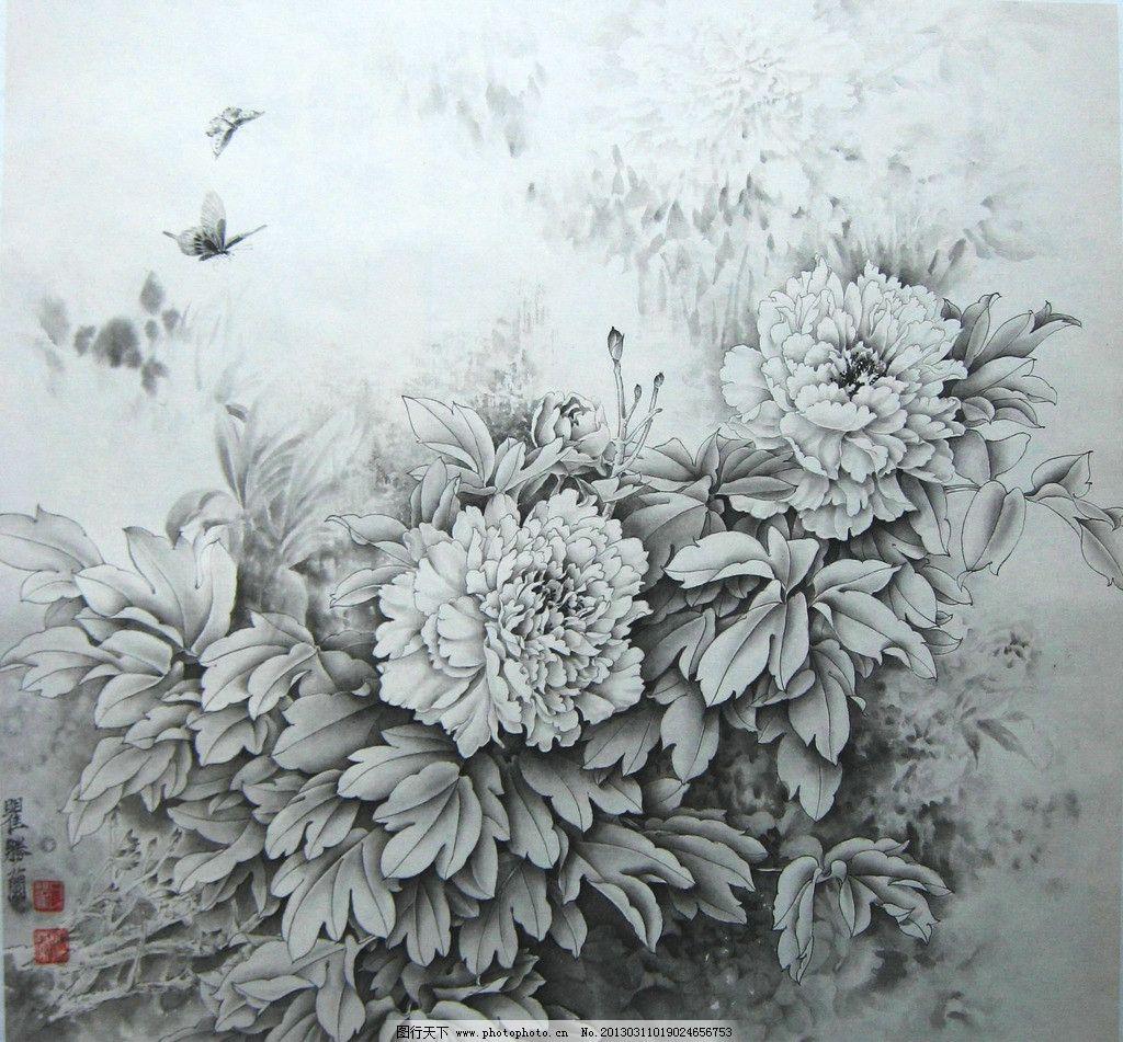 水彩国画 水墨画 国画 花 牡丹花 线描 绘画书法 文化艺术 设计 180dp