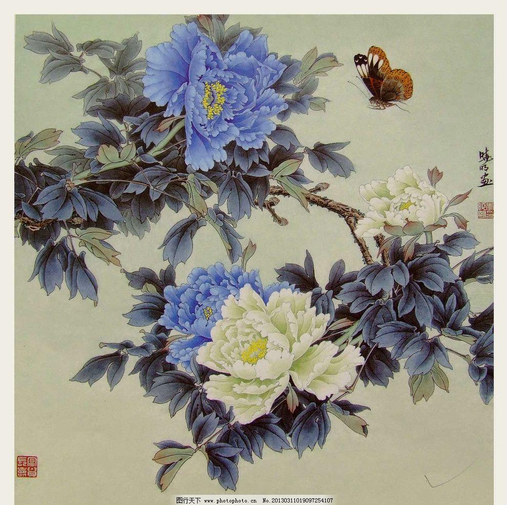 水彩国画 水墨画 国画 花 牡丹花 水彩线描 蝴蝶 绘画书法 文化艺术