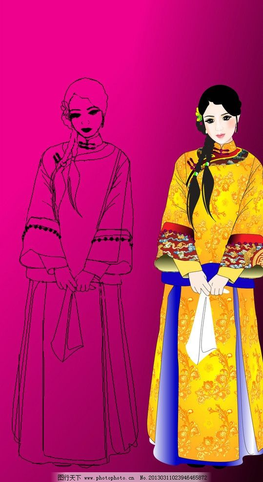 古典美女 矢量人物 古代 纽襻 手帕 淑女 其他人物
