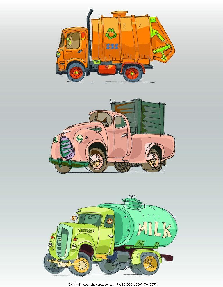 卡通车 洒水车 垃圾车 交通工具 现代科技 矢量 ai