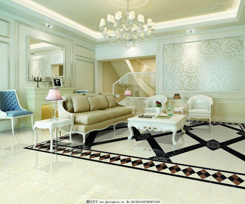 空间铺贴分层图 大厅效果图 磁砖 瓷砖 客厅 客厅空间 切割拼花 欧式