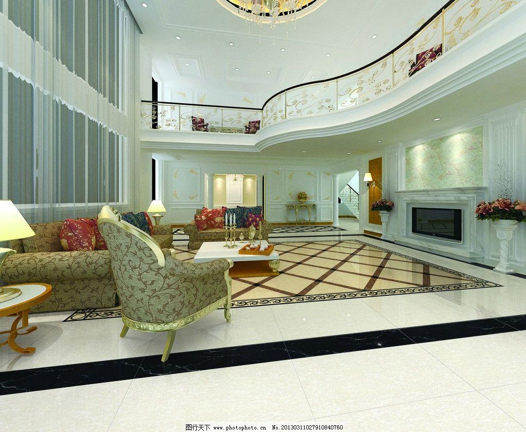 大厅空间铺贴分层图 大厅效果图 磁砖 瓷砖 客厅效果图 切割拼花 欧式