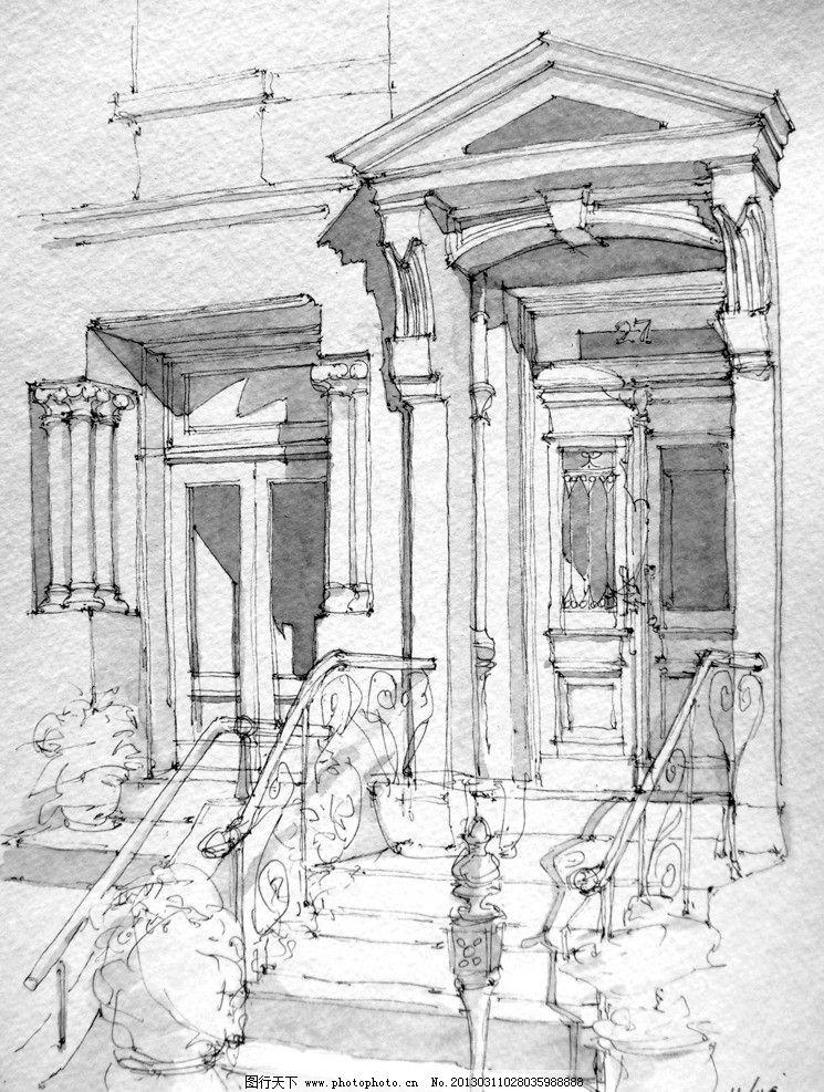 手绘建筑 手绘 建筑 街景
