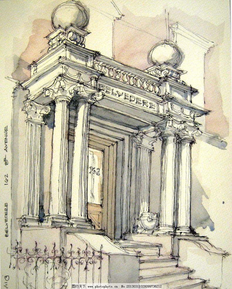 手绘建筑 建筑外观 钢笔画