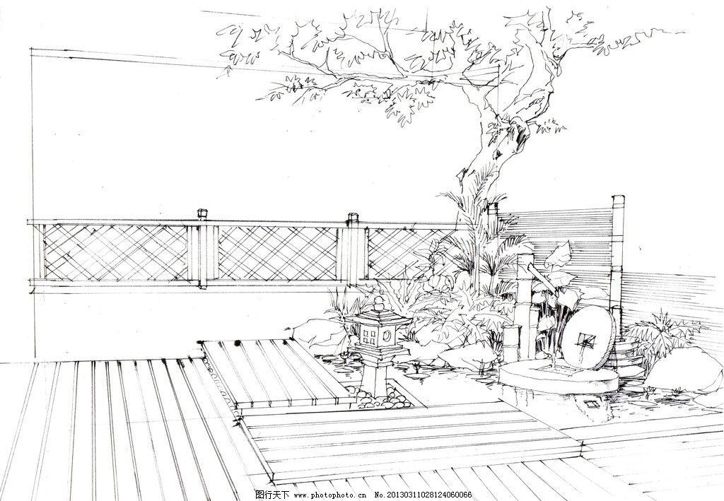 景观设计栏杆手绘