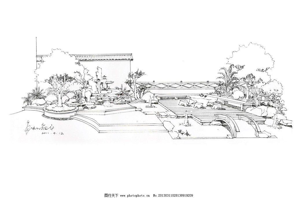 私家花园手绘 庭园 假山 水池 木平台 小桥 木栏杆 景观设计 环境设计