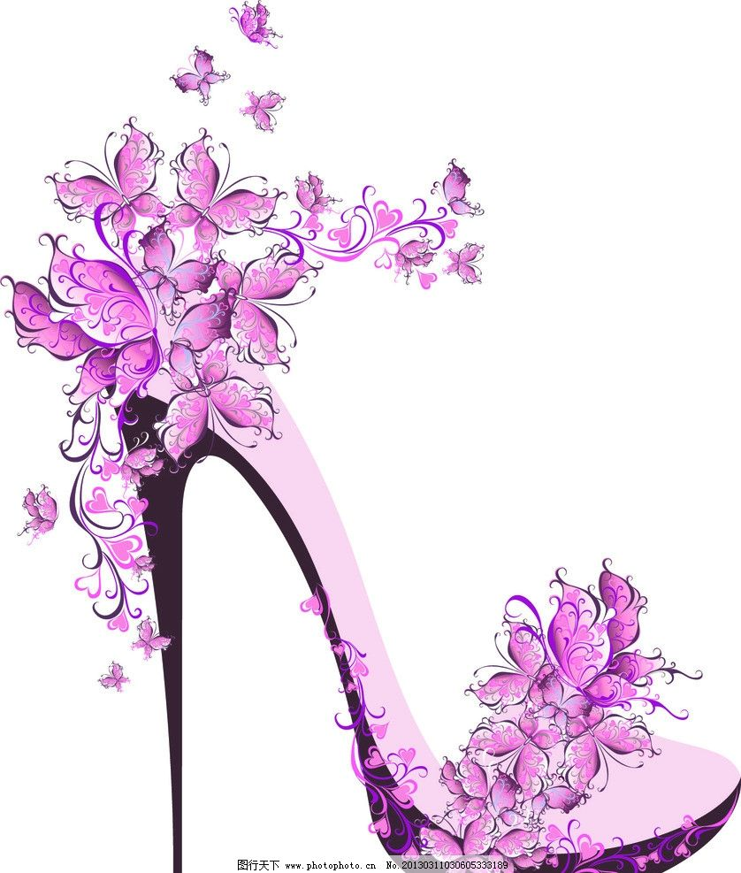 花卉装饰高跟鞋矢量素材 花卉 花朵 高跟鞋 花 时尚 花纹 鞋 服装设计
