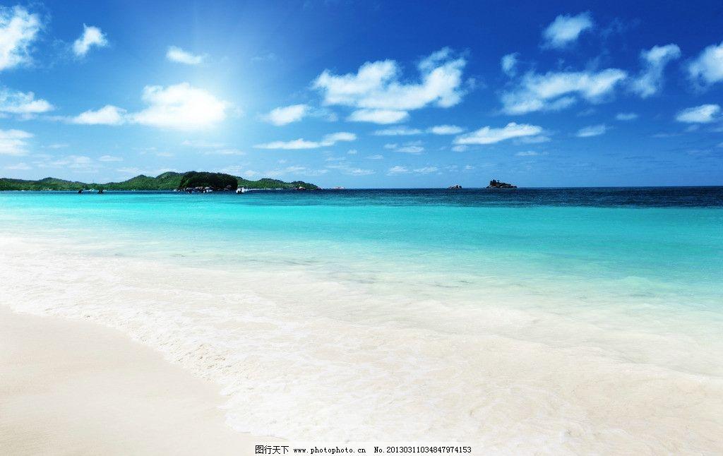 海滩 海面 大海 海水 海边 蓝海水 沙滩 沙子 蓝天 白云 云彩 热带