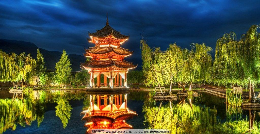 中国园林古塔壮观夜景图片