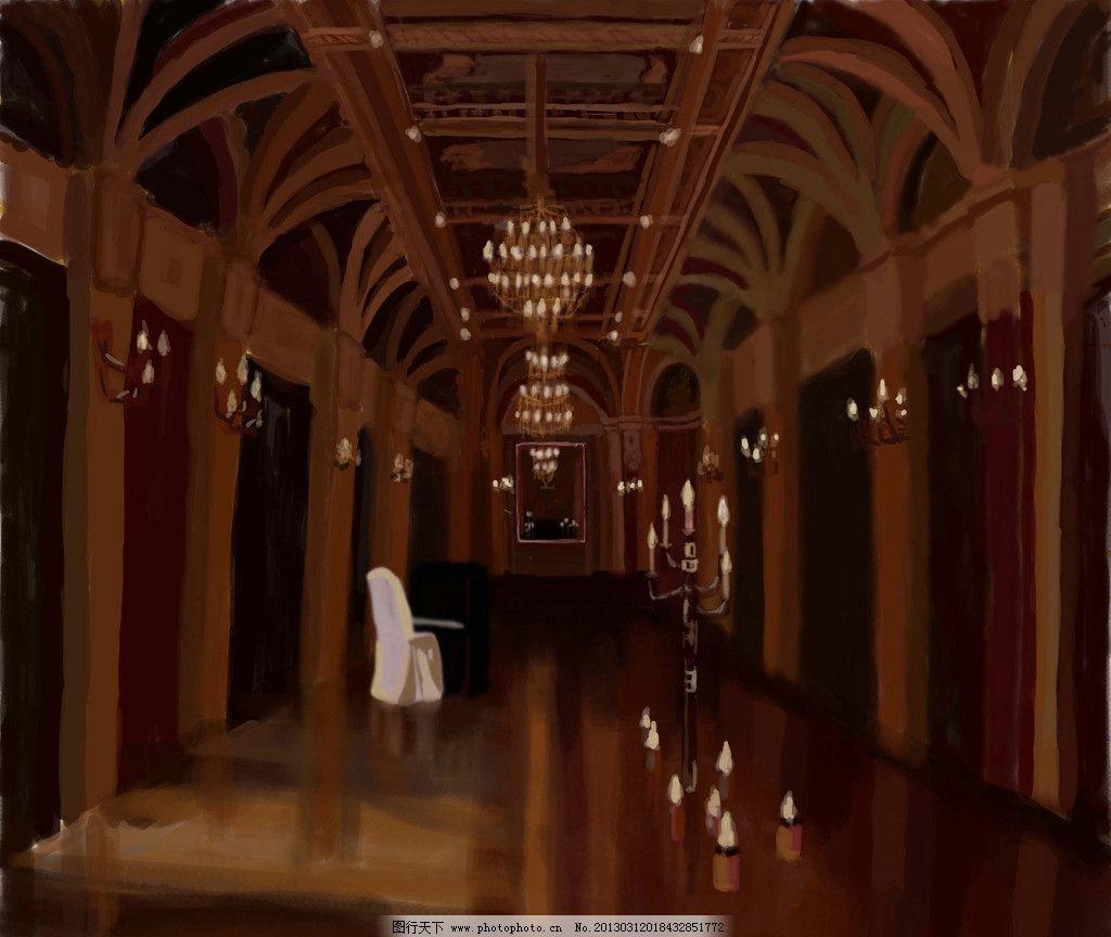 动画场景设计 动漫场景设计 动画城堡 教堂 钢琴 烛台 欧式教堂 水晶