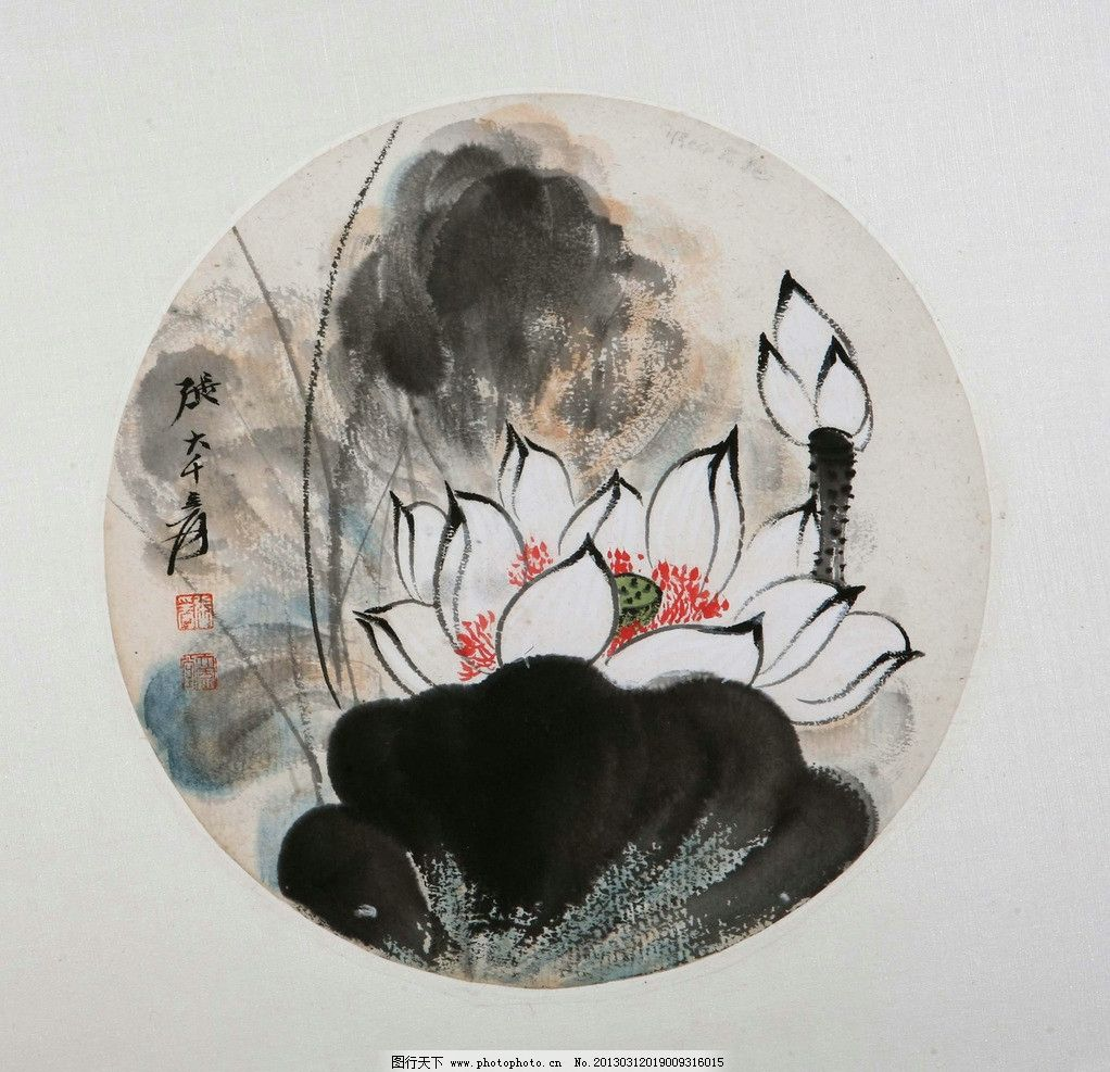 水彩国画 水墨画 国画 花 荷花 水彩线描 绘画书法 文化艺术 设计 72