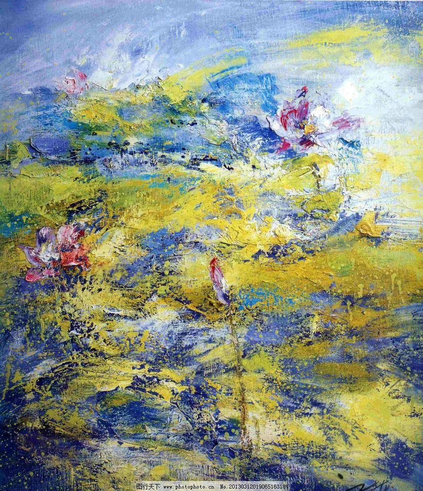 荷花绘画 油画 水粉画 荷花 花 荷叶 绘画书法 文化艺术 设计 72dpi图片