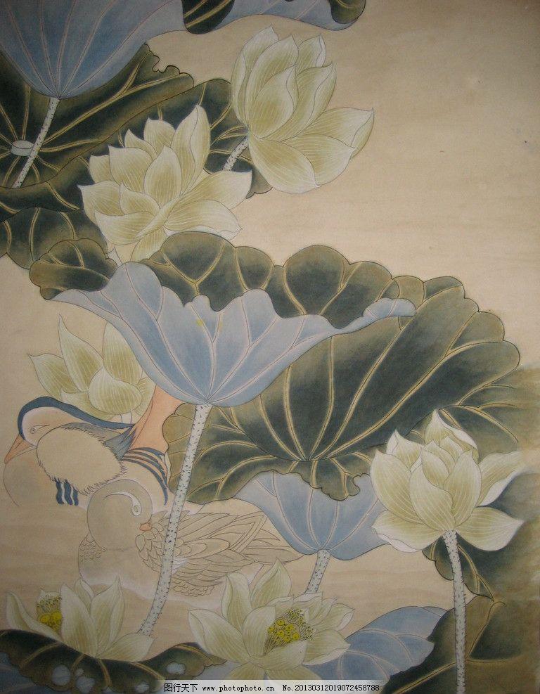 水彩国画 水墨画 国画 花 荷花 荷叶 水彩线描 鸳鸯 绘画书法 文化