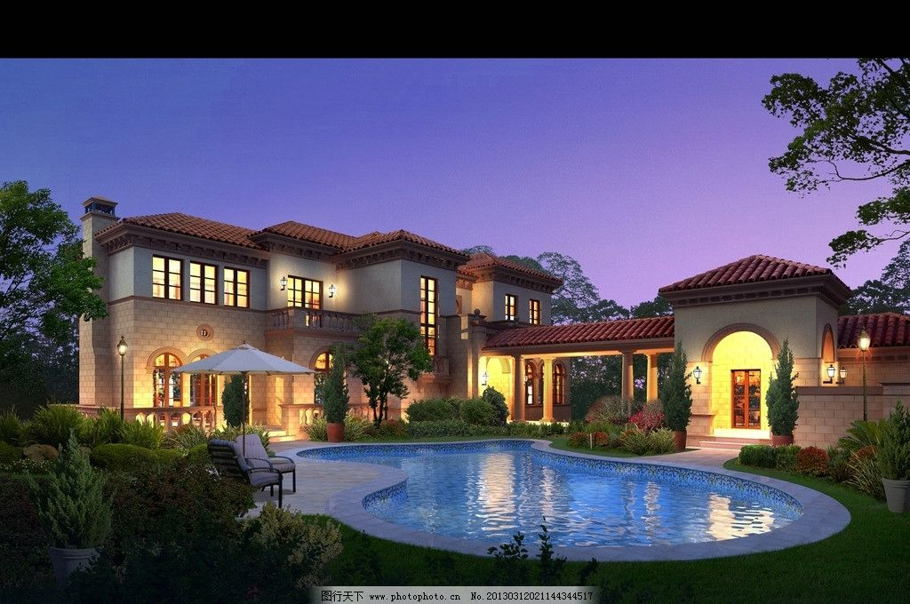 建筑室外效果图 夜景 别墅 树 花草 3d作品 3d设计 设计 72dpi jpg