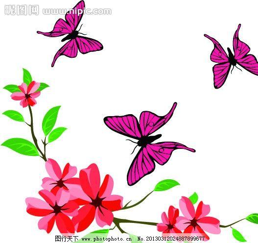 花纹 卡片 图案 蝴蝶 花 矢量 昆虫 生物世界 ai