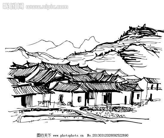 民居 房屋 线稿 手绘 黑白 高山 群山 瓦房 城市建筑 建筑家居 矢量