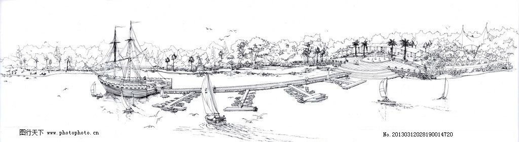 滨水景观手绘图 水景 手绘图 沙滩 水上乐园 公园广场 滨水景观 景观