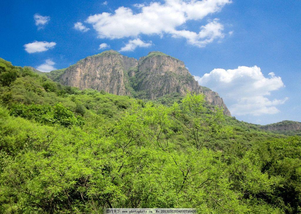 青山 蓝天 白云 风景山峦 天空 绿色山 树木 自然风景 自然景观 摄影