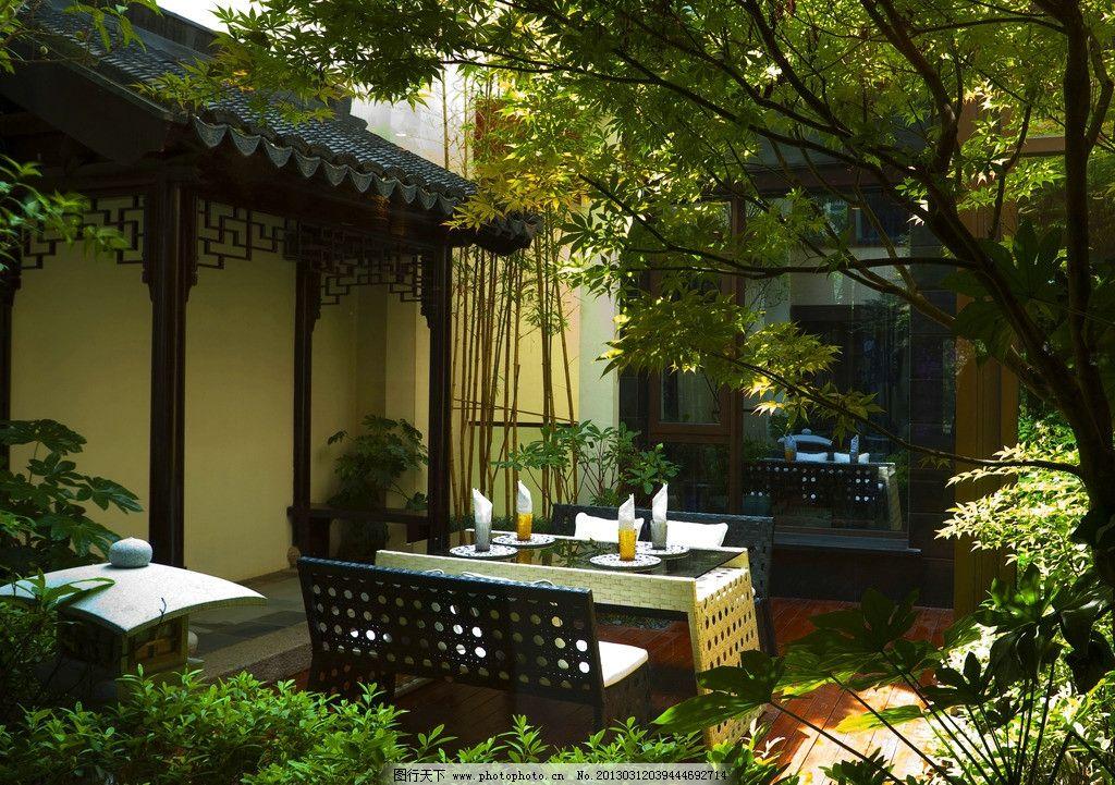 中式别墅小区庭院 中式别墅建筑 中式房子 户外休闲 户外桌椅 苏州