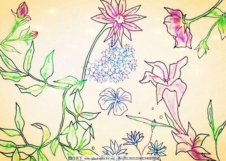纯手绘的花朵植物线稿笔刷