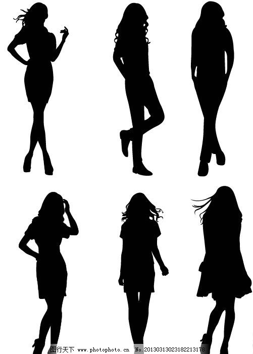 人物剪影 时尚女士 女郎 女性剪影 黑白人物 曲线 线条 其他设计