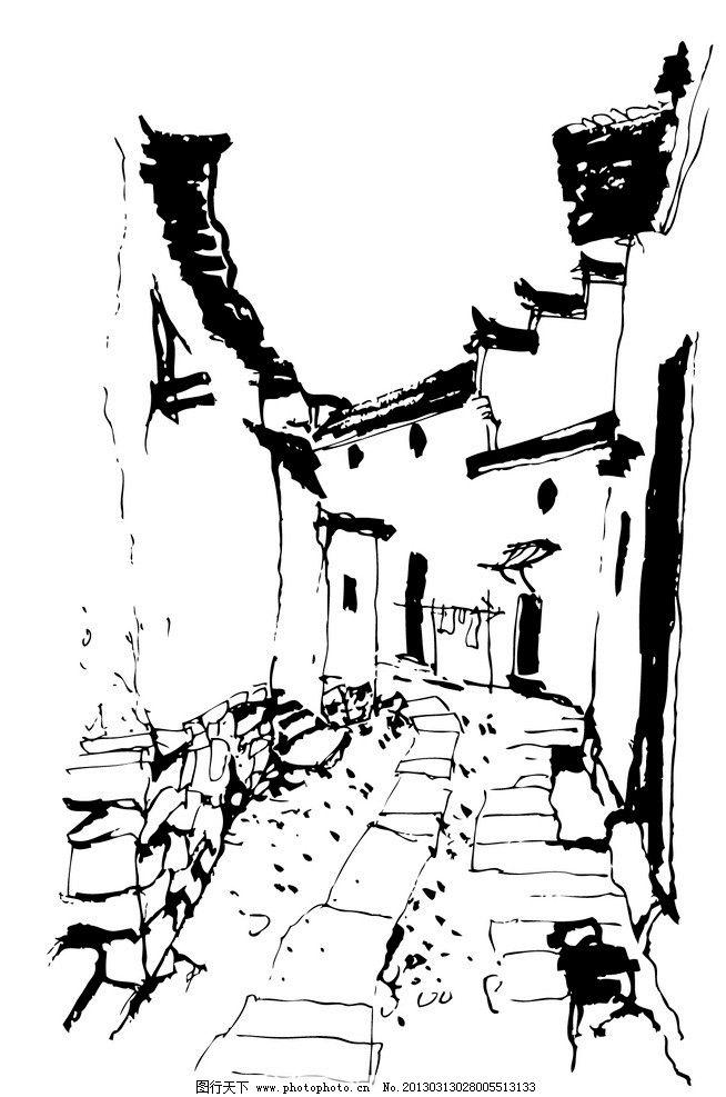 房屋 线稿 手绘