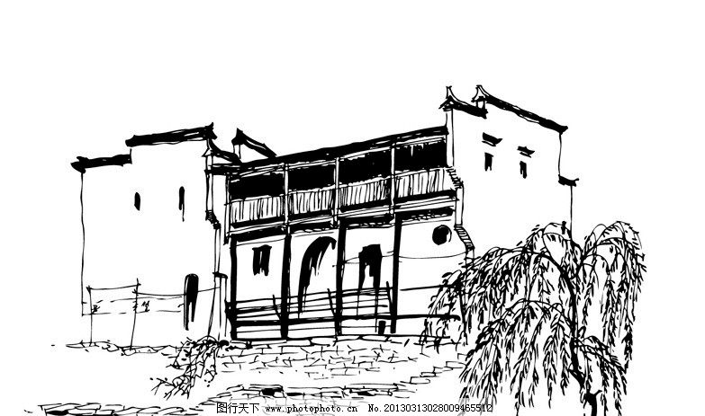 民居线稿 民居 房屋 线稿 手绘 黑白 河流 瓦房 树木 城市建筑 建筑