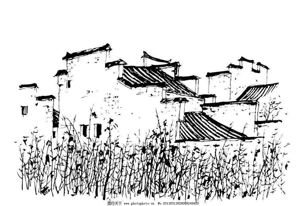 建筑设计树木手绘