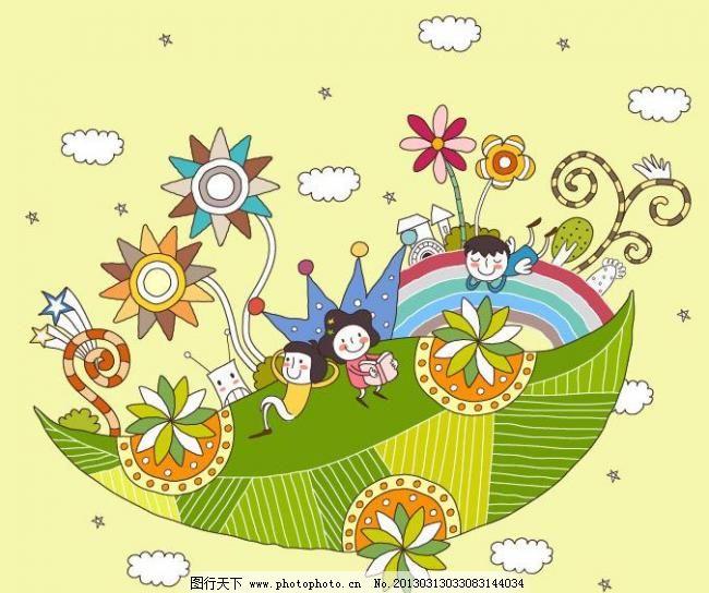 卡通插画 树叶 绿叶子 公园 鲜花 绿树 春节 天空 白云 儿童乐园 梦境