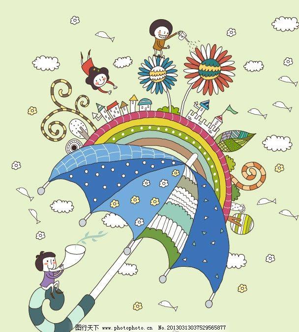 雨后彩虹 卡通插画 雨伞 蓝色雨伞 彩虹 彩虹桥 鲜花 春季 春天插画 梦境乐园 游乐园 卡通乐园 儿童绘画 卡通人物 卡通形象 铅笔画 梦想天空 铅笔彩色画 幼儿绘画 儿童世界 卡通设计 广告设计 矢量 AI