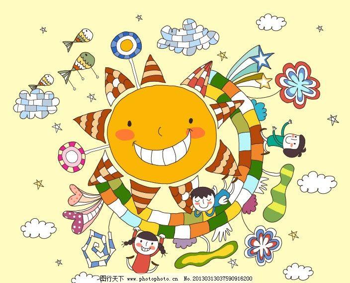卡通乐园 儿童绘画 卡通人物 卡通形象 铅笔画 梦想天空 铅笔彩色画