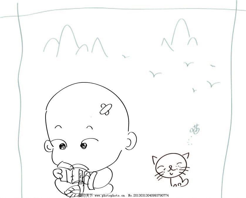q版漫画矢量小和尚图片