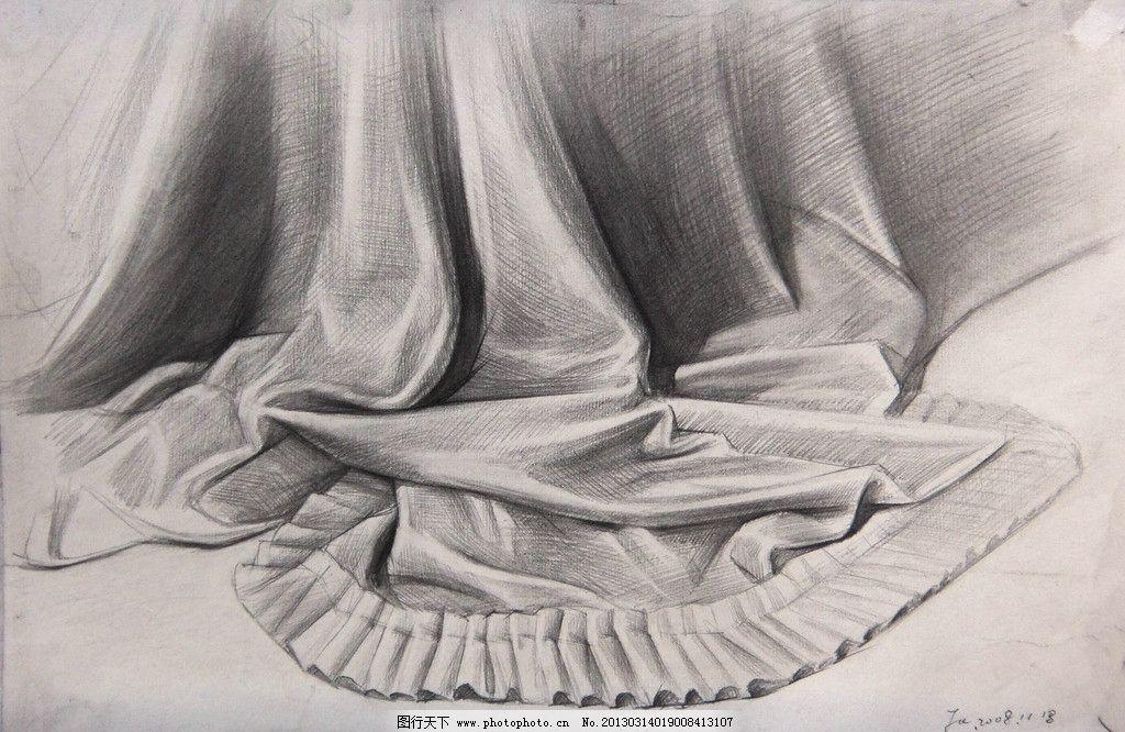 素描 静物 丝绸 花边 台布 自然光 横构图 绘画书法 文化艺术 设计 48