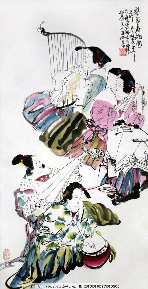 水彩国画 水墨画 水彩画 人物水彩画像 古代美女 古代美女弹乐器