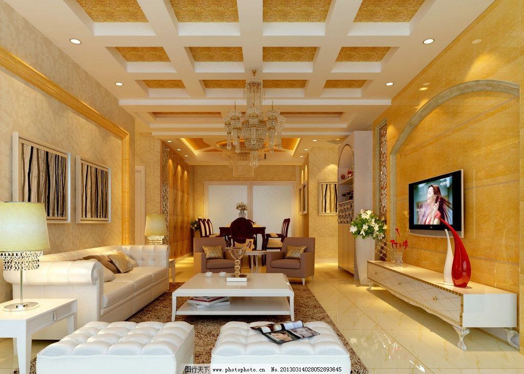 简欧客厅效果图 欧式电视背景