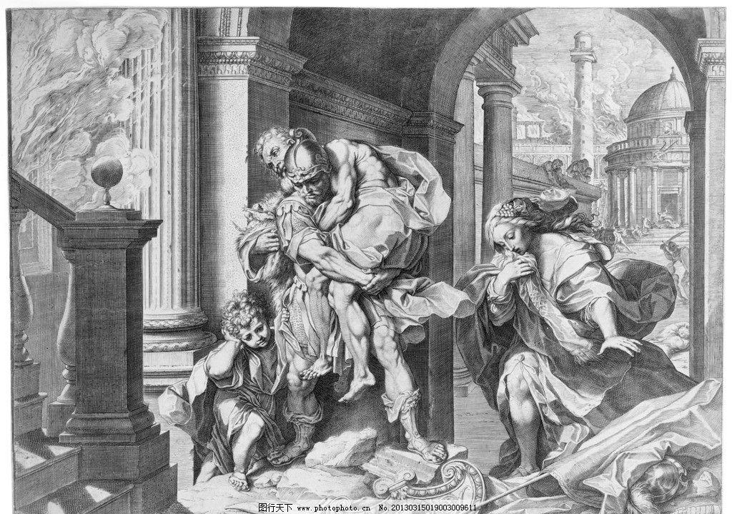 铜版画 欧洲 绘画 战士 士兵 马车 骑兵 装饰画 拱门 战争 盾牌 美术